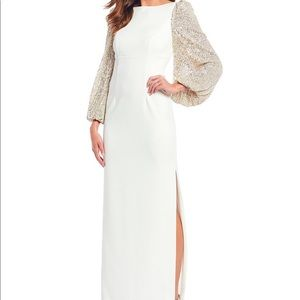 White Gown w/Sequins Sleeves Ideal for Holidays!